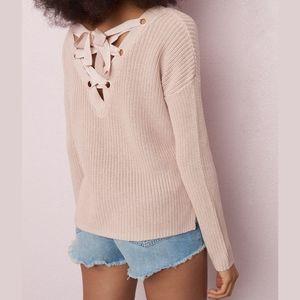 ❤️[3/$35] WHITE Garage Lace Up Back Sweater